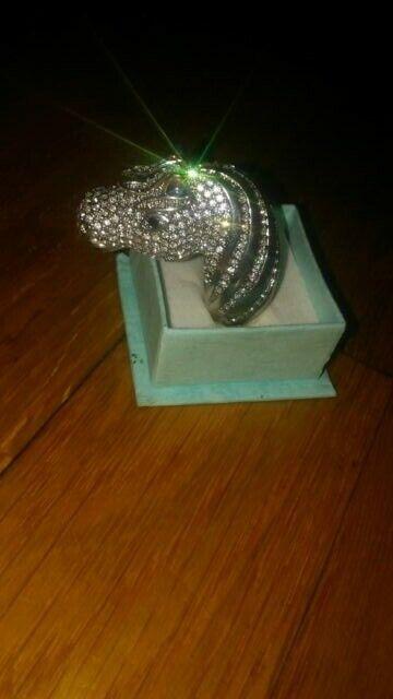 Vintagegorgeous Micro Pave CZ Anillo de caballo enorme de cristal
