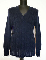 Acne Dark Blue Kid Mohair/Wool Jumper Sweater, Size:S