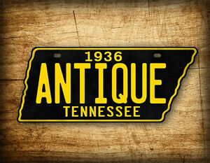 Antique Tennessee License Plate Black Gold Vintage Replica