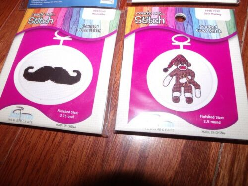 Janlynn Set of 4 Ornaments Counted CS Kits Whimsy Mustache Dog Kitten Monkey