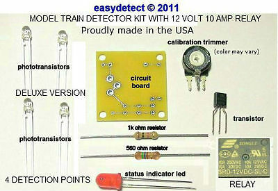 DELUXE BI-DIRECTIONAL HO SCALE MODEL TRAIN DETECTOR KIT w/ 12 VOLT 10 AMP RELAY