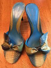 NINE WEST Cherri Turquoise & Lime Snakeskin Leather Bow Slides Heels Sandals 8.5