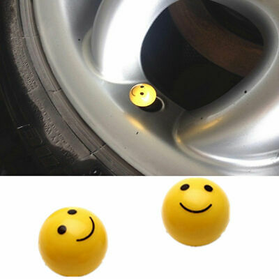 4 Yellow Smiley Design Tire air Valve Stem Caps Car Truck Bike ATV Wheel Rims