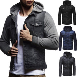Men-039-s-Slim-Denim-manteau-classique-jean-a-capuche-Sweatshirts-Manteau-Veste-Outwear