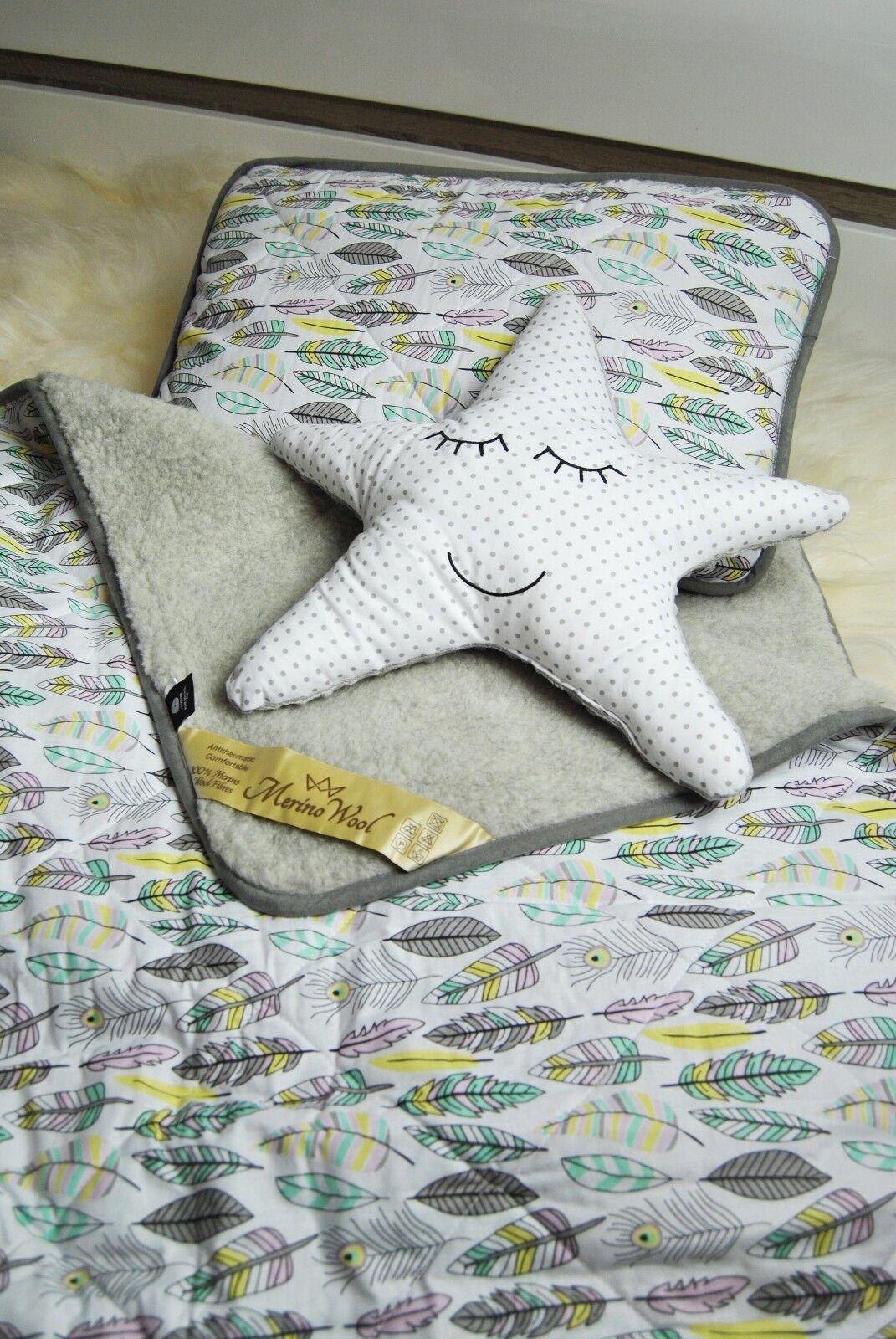 Ausverkauf Babyblau Merinowolle & Baumwolle Baumwolle Baumwolle Bett 100 X 140 Cm +Kissen 40 X 60 3b9206