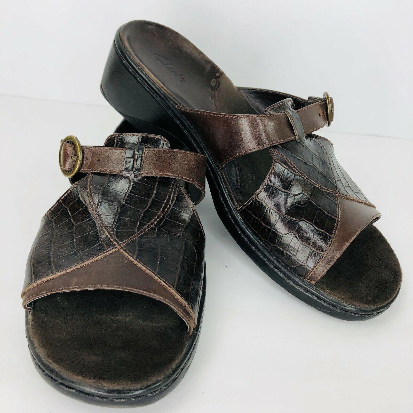 Clarks Ladybelle Slides Sandals Cafe Brown Leather Womens Size 9 W  71812