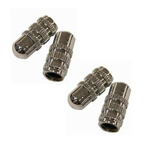 4-x-Schrader-piccole-dimensioni-ARGENTO-PNEUMATICO-TIRE-WHEEL-Polvere-Valvola-Coperchi-AUTO-BICI