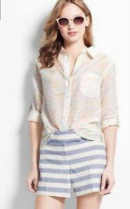 a6565b3756e9c Ann Taylor Top size Small Petite SP Silk Blend Camp Shirt Button ...