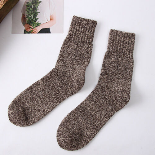 5 Pairs Mens Wool Cashmere Thick Warm Soft Solid Casual Winter Sports Socks