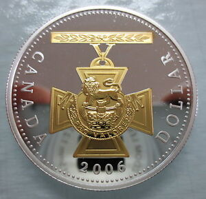 2006-CANADA-VICTORIA-CROSS-PROOF-SILVER-DOLLAR-WITH-GOLD-COIN