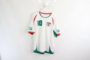 Vintage-Fila-Uomo-Medio-Mexico-Coppa-Del-Mondo-Calcio-Jersey-10-Bianco-Verde