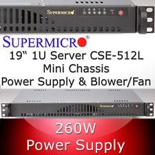 Supermicro 1HE / 1U Rack Gehäuse / Chassis SC512-260B + Netzteil, Blower-Fan