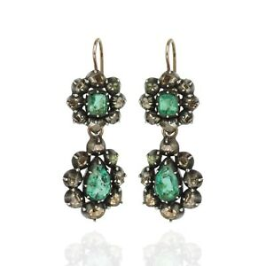 5d1b39c83163d Details about Georgian Emerald and Diamond Day/Night Earrings
