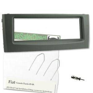 Fascia-2046-01 Grey Facia Adapter//pocket for Radio//Fiat Panda Type 169 03-12