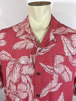 82f8f222 George Mens Hawaiian Button Up Shirt Floral Tropical Palm Tree Leaf  Hibiscus L