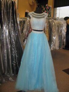 5a053b68bbe Tiffany 16242 Sky Blue Stunning Crop Top Ball Gown Dress sz 4   eBay