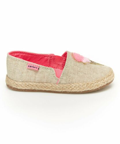 CARTER/'S GIRLS ARI ESPADRILLE LOAFER FLAT BEIGE TAN Pink Ice Cream SIZE 5-11 New