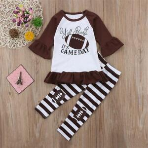 NEW-Football-Girls-Ruffle-Tunic-Striped-Brown-Leggings-Outfit-Set-3T-4T-5T-6-7