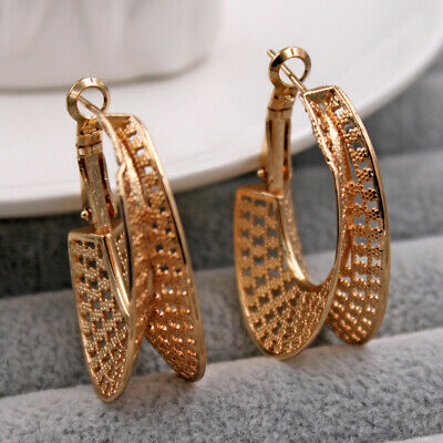 New 18K GOLD Filled Round Hoop High Polished Ladies Dangle Hoop Stud Earrings