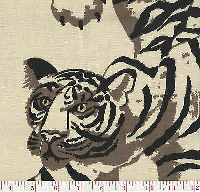 P Kaufmann Le Tigre Natural Beige Print Jungle Cat Upholstery Fabric BTY