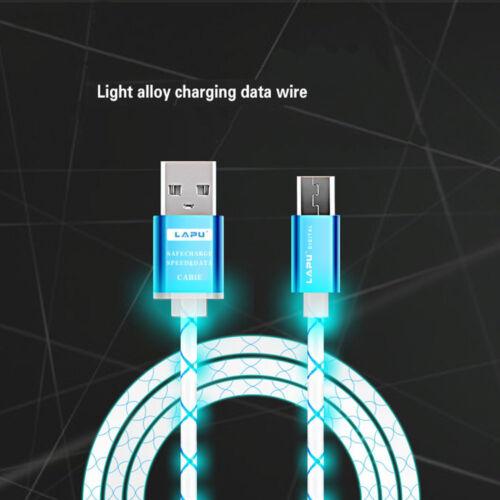 1M LED luz visible Cable Usb Cargador De Sincronización De Datos Cable De Tela Para Android teléfono