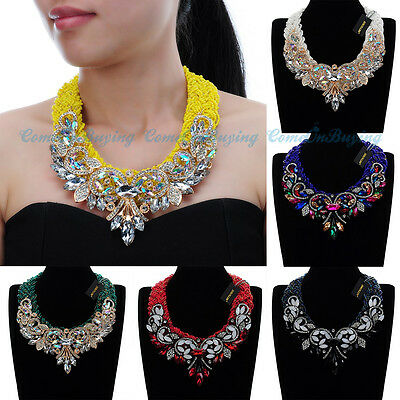 Fashion Women Jewelry Resin Acrylic Chunky Choker Statement Pendant Bib Necklace
