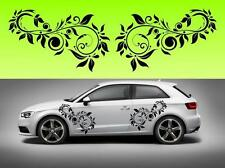 2x Swirly flowers car vinyl (f4) STICKER DECAL VAN CAR COLOUR DUB JDM