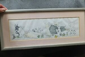 Funny-ORIGINAL-WATERCOLOUR-AND-INK-PAINTING-PICTURE-OF-PIGS-PIG-FARM-SIGNED