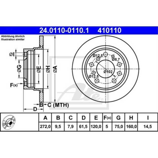 ATE 2x Discos de Freno Completo Recubierto 24.0110-0110.1