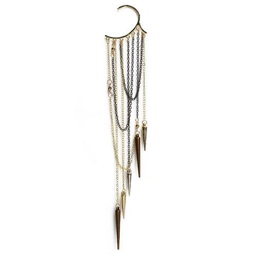 Gothic Punk Rock Spike Long Dangle Chain Tassel Ear Bone Cuff Wrap Clip Earring