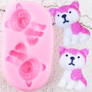 3D Cute Husky Dogs Silicone Molds Chocolate Candy Soap Polymer Clay Mold Diy Par