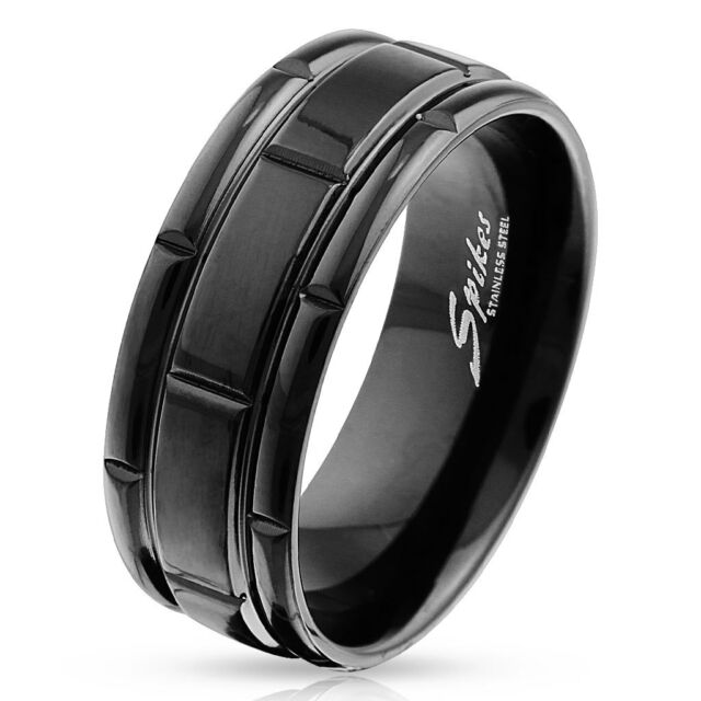 Box Grooved Black IP Plated Stainless Steel Wedding Band Mens Ring