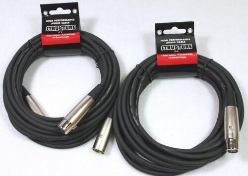 2-Pack 20/' foot ft Microphone Cable XLR 6mm Strukture Lifetime Guarantee SMC20
