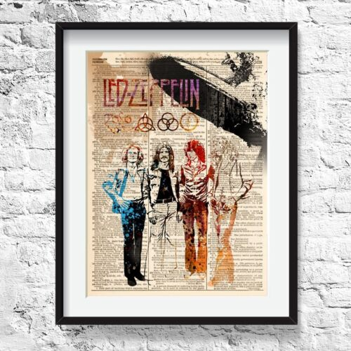 Dictionary Art print LED ZEPELIN PAINTING Rock star legend,music poster 0448