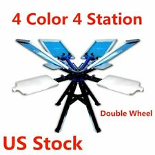 Us Stock 4 Color 4 Station Screen Printing Machine Double Wheel Screen Printer