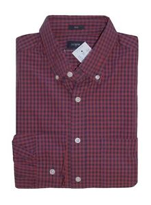 J-Crew-Factory-Men-039-s-M-Slim-Fit-Red-Navy-Micro-Gingham-Plaid-Washed-Shirt