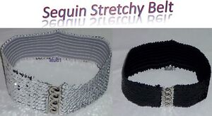 LADIES-GIRLS-Sequin-Retro-1950-039-s-Rockabilly-Cinch-Elasticated-Belt-Wide-NEW