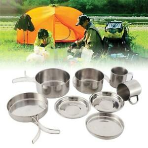 Camping Picnic Cookware Set Stainless Steel Pan Pot Outdoor Hiking Cooking Bowl
