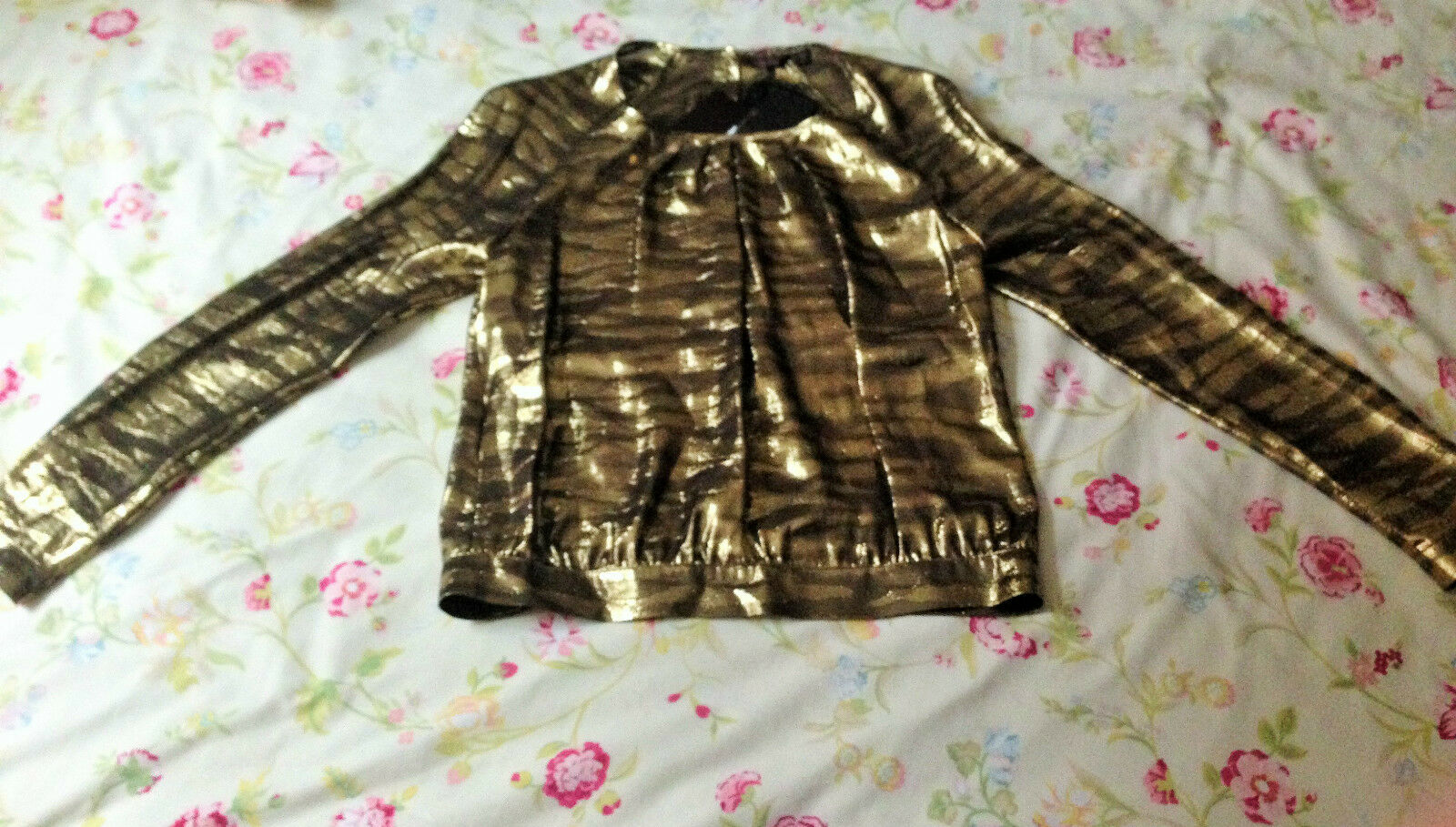 MULBERRY Women pleat front blouse metallic tiger delicate silk button up