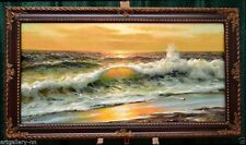 """EXTRA LARGE SEASCAPE """"GODEN SEA SURF"""" LISTED ARTIST OIL PAINTING MUSEUM QUALITY"""
