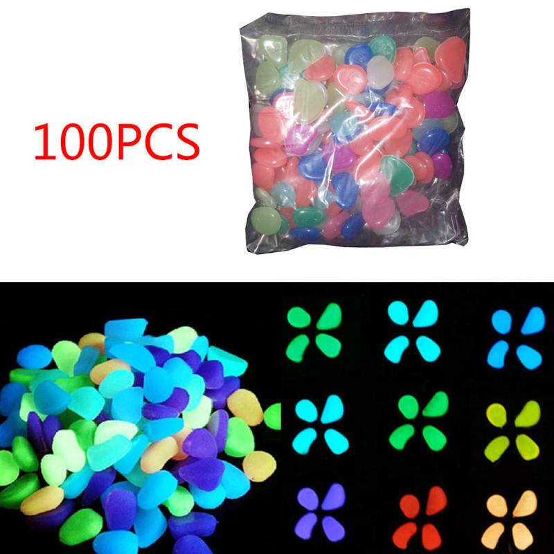 100pcs Glow in The Dark Stones FISH TANK AQUARIUM Pebbles Ro