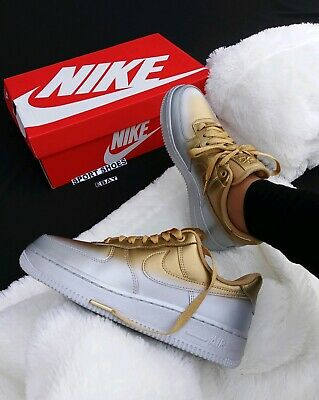 6 Women's Nike Air Force 1 AF1 METALLIC GOLD SILVER 898889 012 SNEAKERS | eBay