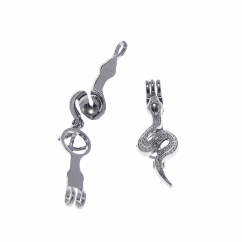 3 pcs Mini Metal Snake Look Open Locket Silver Plated Pearl Cage Pendant Charm