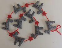 Handmade felt REINDEER & STAR Christmas garland decoration NEW 120cm RUDOLPH