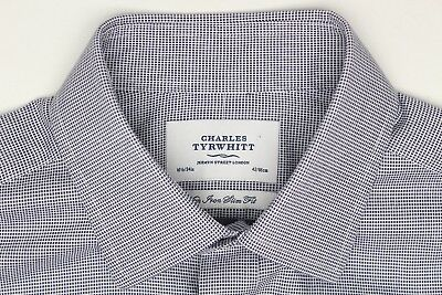 Sunny Charles Tyrwhitt Mens Dress Shirt 16.5/34 Blue Check Non Iron Slim Fit Long Slv Shirts