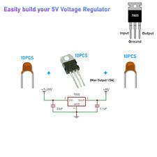 10 Piece L7805cv L7805 7805 Positive Voltage Regulator 5v 15a To 220 Ic Kit
