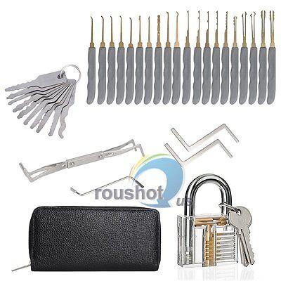 New 24Pcs Locksmith Training Practice Tool Set + Clear Transparent Padlock