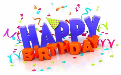 Happy Birthday Vinyl 1x Sticker Present Bumper Home Door Fridge Wish #03
