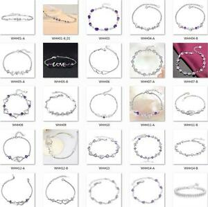 Women-Girls-925-STERLING-SILVER-bracelet-birthday-present-Fashion-jewelry-heart