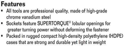 "Williams 50663 15pc 3//8/""Drive,1//4/""-7//8/""SAE Supertorque® 6Point Sockets/&Drive Set"